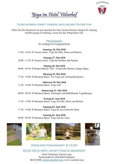 Yoga im Hotel Völserhof Programm A4