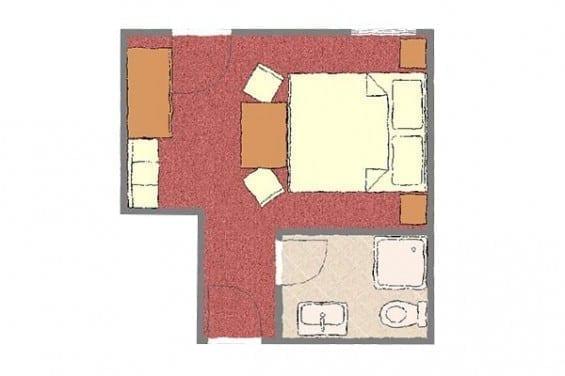Grundriss - Kategorie 4 - Doppelzimmer - Völserhof - Zimmer - Bad Hofgastein