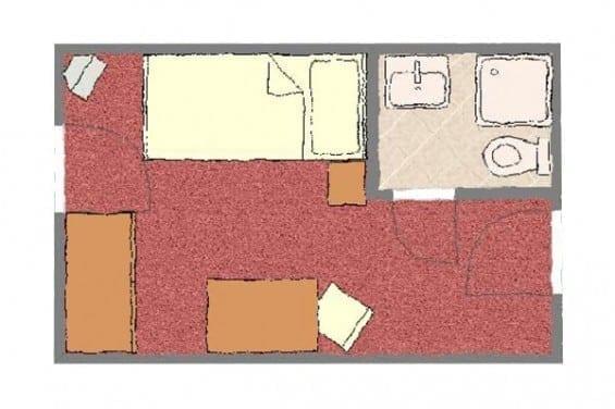 Grundriss - Kategorie 4 - Einzelzimmer - Völserhof - Zimmer - Bad Hofgastein