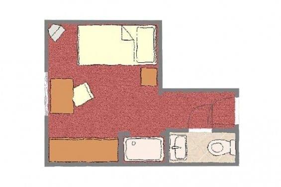 Grundriss - Kategorie 5 - Einzelzimmer - Völserhof - Zimmer - Bad Hofgastein
